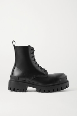 Balenciaga Strike Matte-leather Ankle Boots - Black