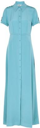 Diane von Furstenberg Georgia blue silk shirt dress