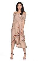 AX Paris Beige Floral Bardot Printed Dress