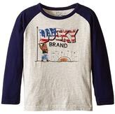 Lucky Brand Kids Long Sleeve Raglan Tee with Lucky Bear and Flag Screen Print (Toddler)