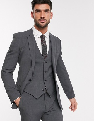 ASOS DESIGN super skinny suit jacket in four way stretch in charcoal