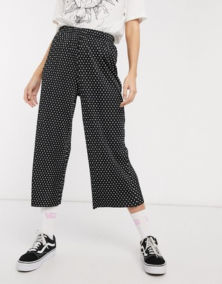 ASOS DESIGN plisse culotte in spot print