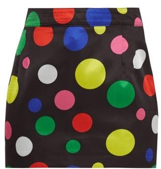 Elzinga - Polka-dot Satin Mini Skirt - Black Multi