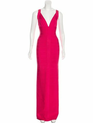 Herve Leger Plunge Neckline Long Dress Pink
