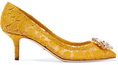 Dolce & Gabbana Crystal-embellished Corded Lace Pumps - Yellow