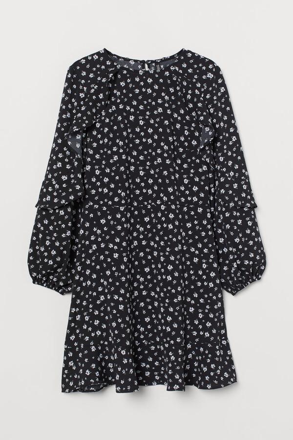 H&M Flounce-trimmed Dress - Black