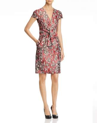 Paule Ka Tie-Detail Floral Jacquard Dress