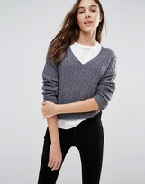 Jack Wills Ambleside Cable V Neck Sweater