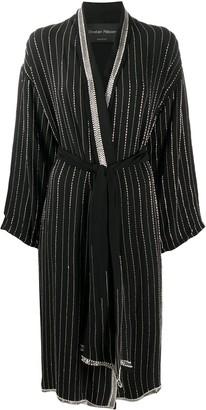 Christian Pellizzari Embellished Stripe Long Robe