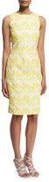 Badgley Mischka Sleeveless Jacquard Sheath Dress, Yellow/White