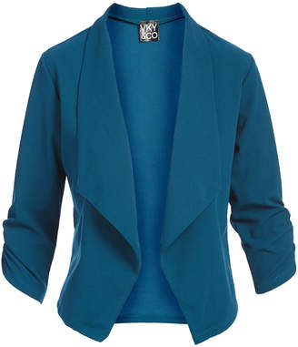 Vky & Co VKY & CO Women's Blazers TEAL - Teal Crepe Knit Three-Quarter Sleeve Open Blazer - Women & Plus