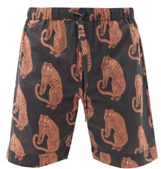 Desmond & Dempsey Tiger Printed Pyjama Shorts - Black Orange