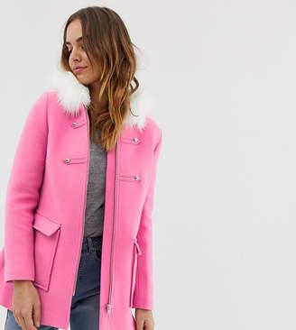 Naf Naf COLORFUL coat with faux fur hood in pink