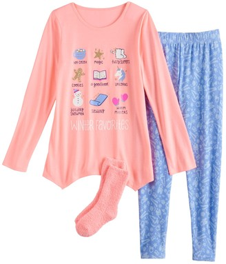 So Girls 4-18 Winter Themed Top, Leggings & Socks Pajama Set
