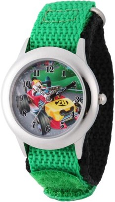 Disney Mickey Mouse Boys' Stainless Steel Time Teacher Watch, Green Hook and Loop Nylon Strap with Black Backing