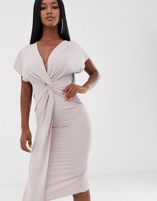 Asos Design DESIGN twist midi dress with kimono sleeve-Pink