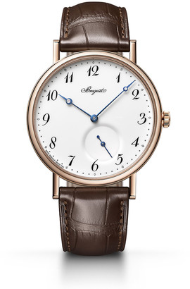 Breguet 40mm Classique 18k Rose Gold Watch w/ Alligator Strap, Brown/White