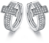 Cubic Zirconia & Silvertone Cross Huggie Earrings