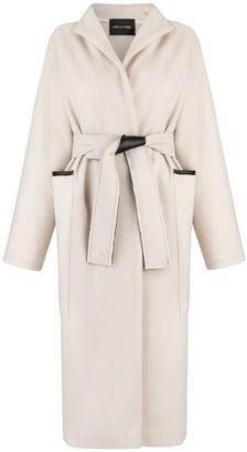MONICA Nera Sammy Woal Coat With Leather Details