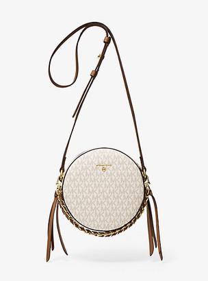 Michael Kors Delancey Medium Two-Tone Logo and Leather Canteen Crossbody Bag