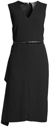 Max Mara Robin Belted Side-Ruffle Sheath Dress