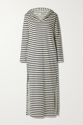 POUR LES FEMMES Hooded Striped Cotton-blend Jersey Nightdress - Navy