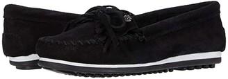 Minnetonka Kilty Plus (Black Suede) Women's Moccasin Shoes