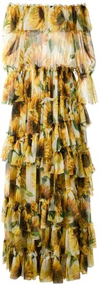 Dolce & Gabbana Strapless Sunflower Print Tiered Dress
