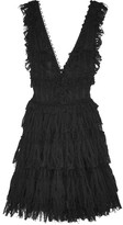 Alexander McQueen Ruffled Pointelle-knit Mini Dress - Black