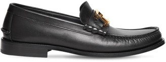 Versace Metal Logo Leather Loafers