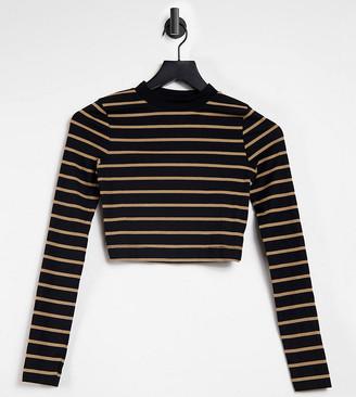 Collusion rib stripe long sleeve top in black