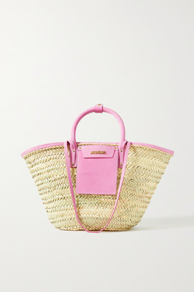 Jacquemus Soleil Suede-trimmed Straw Tote - Beige