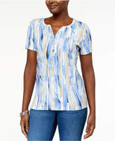 Karen Scott Printed Henley T-Shirt, Created for Macy's