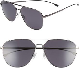 HUGO BOSS 63mm Polarized Aviator Sunglasses