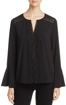 T Tahari Norma Embellished Bell Sleeve Blouse