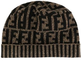 Fendi Pre Owned Zucca pattern women's knitted hat