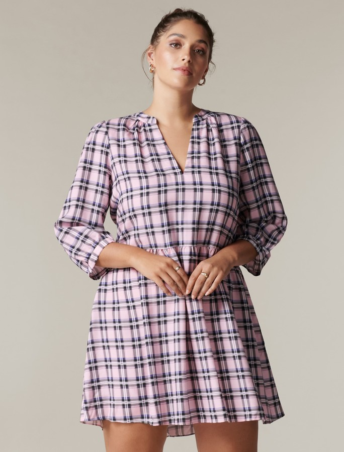 Thumbnail for your product : Forever New Benny Curve Check Smock Dress - Purple Check - 16