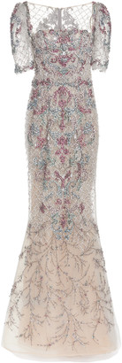 Marchesa Beaded Embroidered Tulle Gown