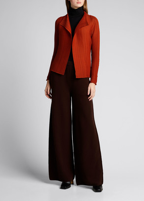 Issey Miyake Wooly Pleats Textured Knit Open-Front Cardigan