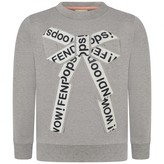 Fendi FendiGirls Grey Applique Bow Sweater