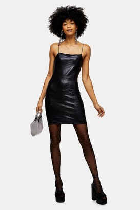 Topshop Womens Tall Black Holographic Bodycon Dress - Black