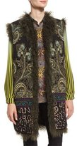 Etro Intarsia-Knit Vest with Shearling Fur Reverse, Green