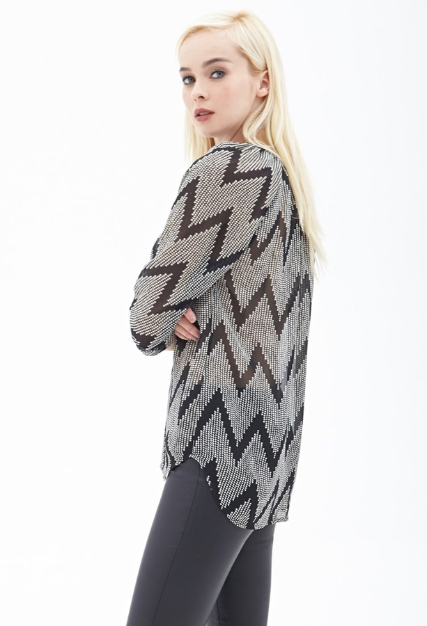 Forever 21 FOREVER 21+ Spotted Zigzag Chiffon Top