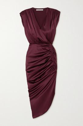 Veronica Beard Casela Wrap-effect Ruched Stretch-silk Midi Dress