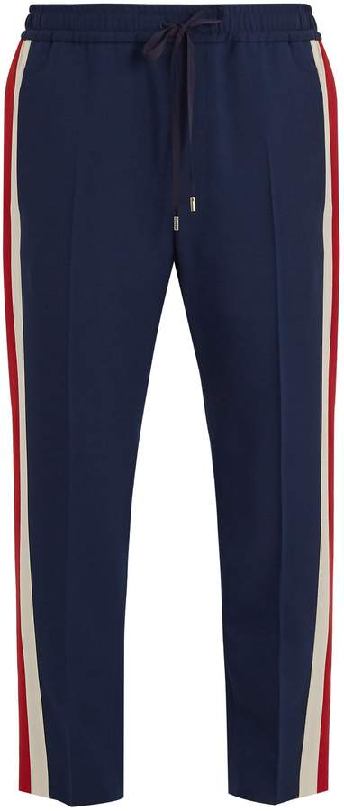 Gucci Side-stripe wool and mohair-blend trousers