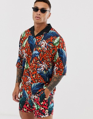 ASOS DESIGN co-ord oversized revere polo with floral and leopard print