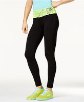 Material Girl Active Juniors' Lace-Contrast Yoga Leggings, Only at Macy's