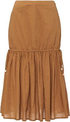Marysia Swim Seashell Tie-Detailed Cotton Midi Skirt