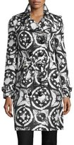 Burberry Sandringham Long Tie-Dye Faille Trenchcoat, Black/White