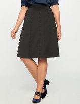 ELOQUII Plus Size Studio Scalloped Skirt